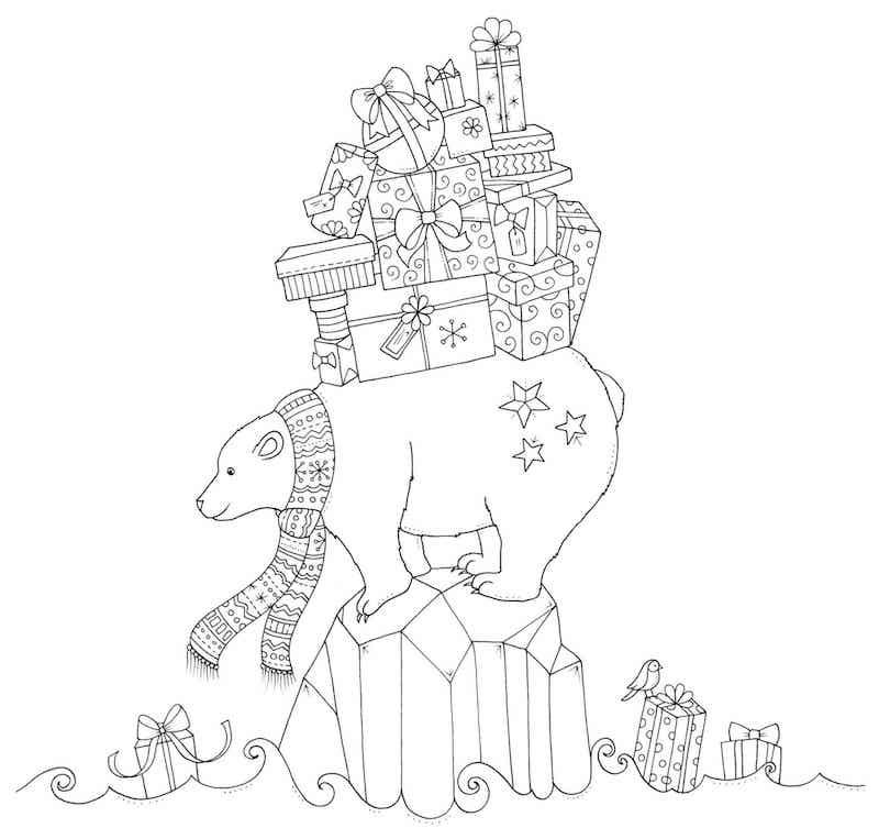 dessin de noel à colorier avec ours portant les cadeaux sur son dos comme le pere noel