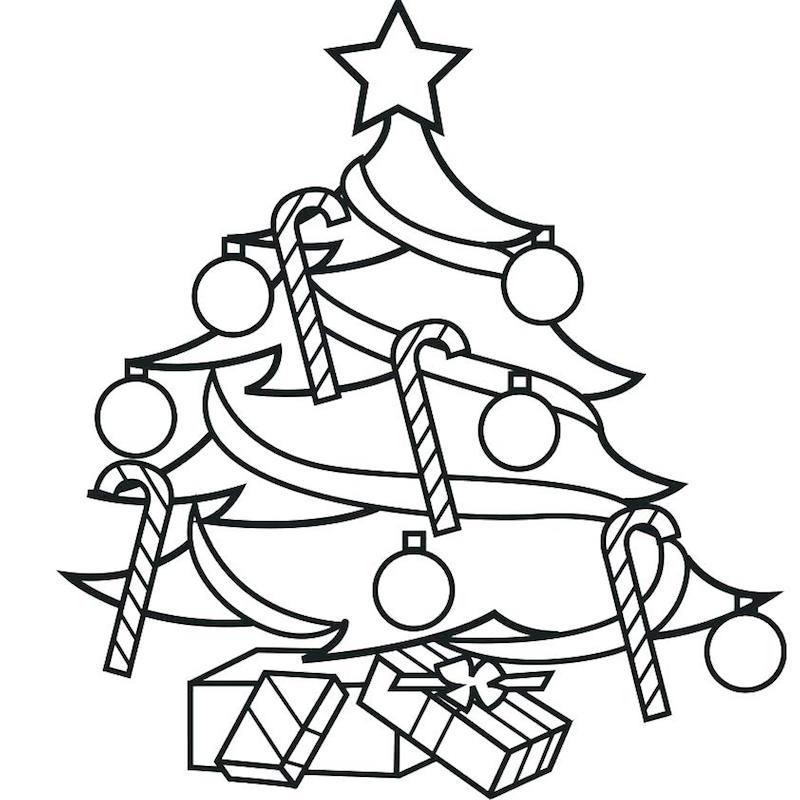 modele sapin de noel dessin à colorier avec décorations faciles en noir en blanc pour enfants
