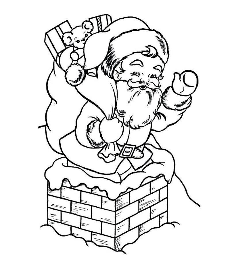 dessin de pere noel a imprimer livrant ses cadeaux par la cheminée comme coloriage noel