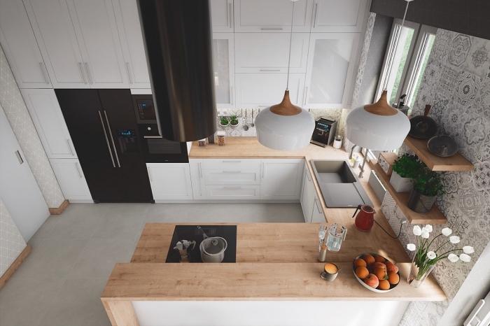 idée comment aménager une cuisine en U, déco de cuisine dans l'esprit minimaliste avec meubles blanc et bois