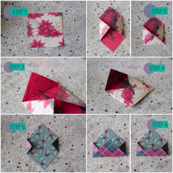 comment fabriquer une origami enveloppe carrée en papier double face motif de noel, les étapes de pliage origami pour réaliser une mini enveloppe facile qui accueillera vos cartes de vœux et vos bons cadeaux