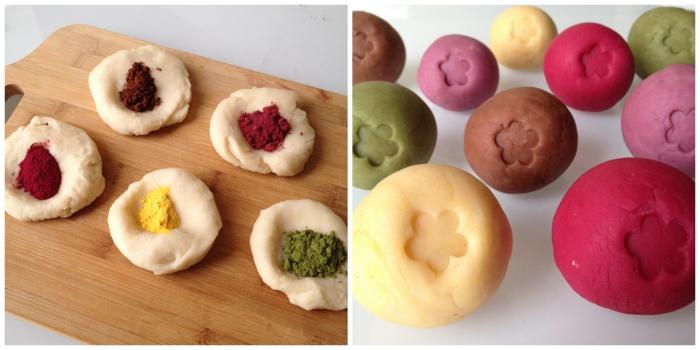 comment faire de la pâte à modeler sans danger teintée avec des colorants naturels, jolies couleurs naturelles réalisées avec des pigments naturels