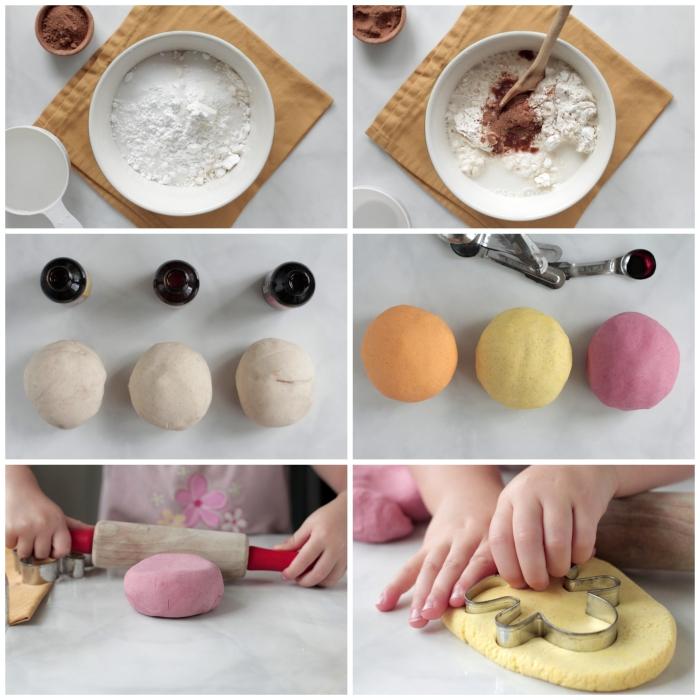 recette pâte à modeler comestible sans colorants alimentaires artificiels, avec de la crème de tartre, parfumée cannelle