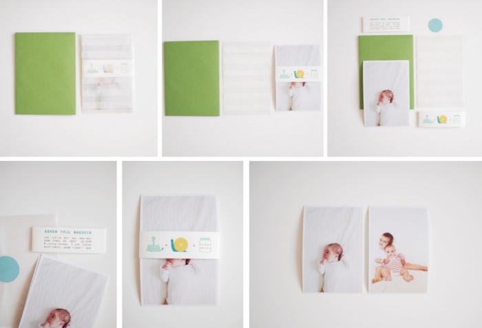 tutoriel facile pour réaliser un faire part soi meme, modèle de carte annonce naissance en papier coloré avec photo bébé