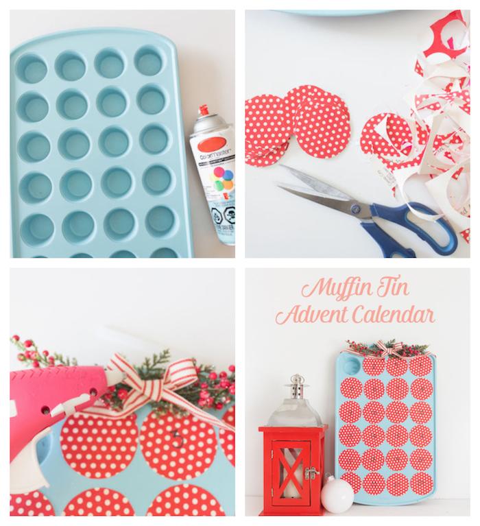 fabriquer un calendrier de l avent en plaque moule à muffins bleue qui renferme petites surprises derrière fenêtres avec papier rouge et blanc