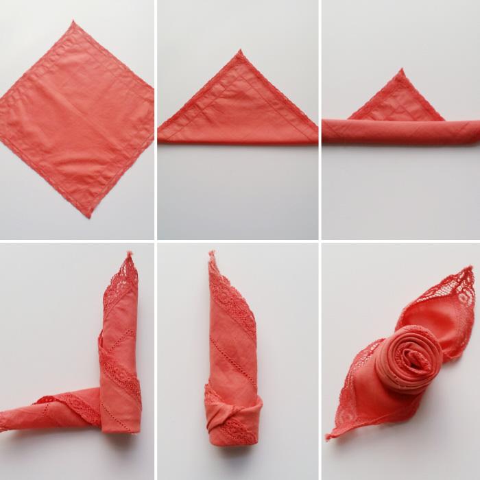 pliage serviette rose tutorial de pliage avec serviette en tissu rouge, technique étape par étape pour faire une décoration de table mariage romantique