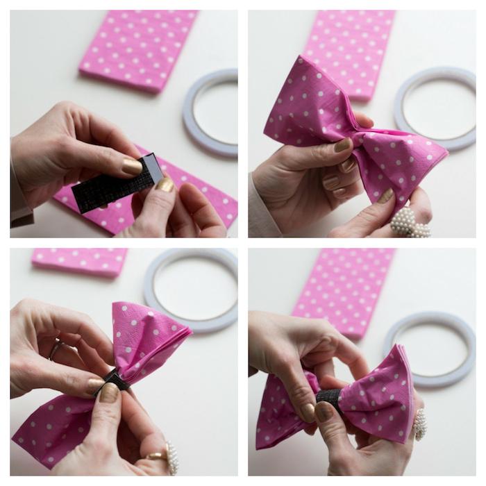 tuto pliage serviette papier facile, serviette rose pliée en forme de noeud de papillon, deco mariage a faire soi meme