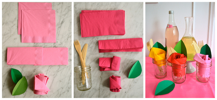 comment plier des serviettes en papier en forme de rose avec serviette couleur rose et rouge et feuilles de papier vertes, simple deco de table fleurie