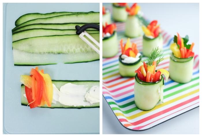 mini sushi concombre, fromage à la crème, poivrons, idée comment faire un roulé de légumes frais, idée repas équilibré