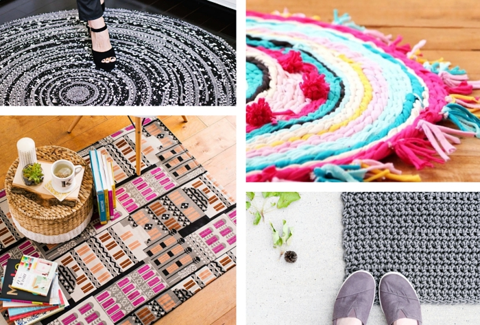 modèles objets diy faciles, exemple de tapis fait main en corde, idée comment faire un tapis en tissu avec déco en pompons et tassels