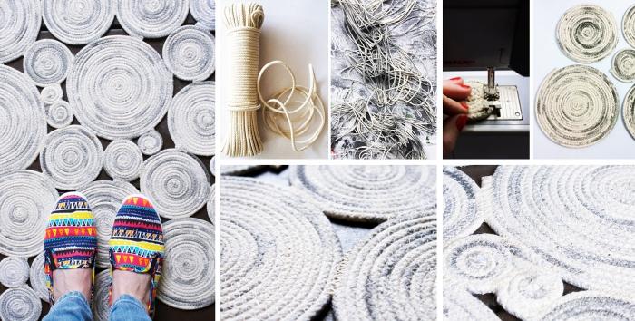 exemple pour apprendre à faire un tapis tissé facile, modèle de tapis DIY à motifs spirales en corde ombré en blanc et gris
