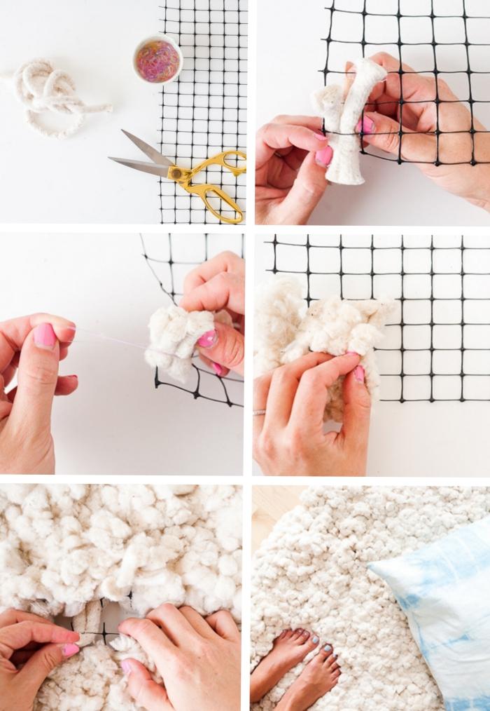 tutoriel pour apprendre comment réaliser un tapis laine facile, modèle de tapis fait sur une tapis antidérapant