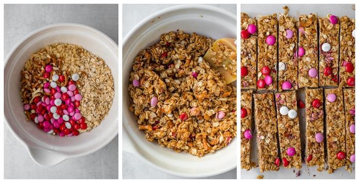 recette barre énergétique de bretzels, bonbons, flacons d avoine, beurre de cacahuètes et miel, repas d anniversaire original