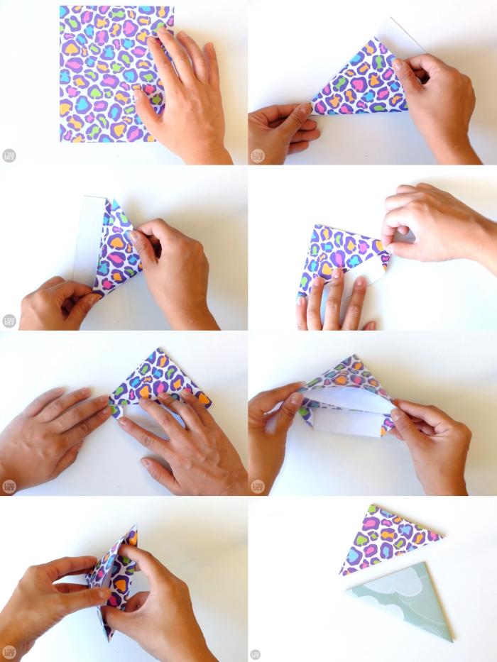 modèle d'origami enveloppe originale en forme de triangle, le pliage étape par étape d'une lettre-enveloppe en papier imprimé léopard multicolore