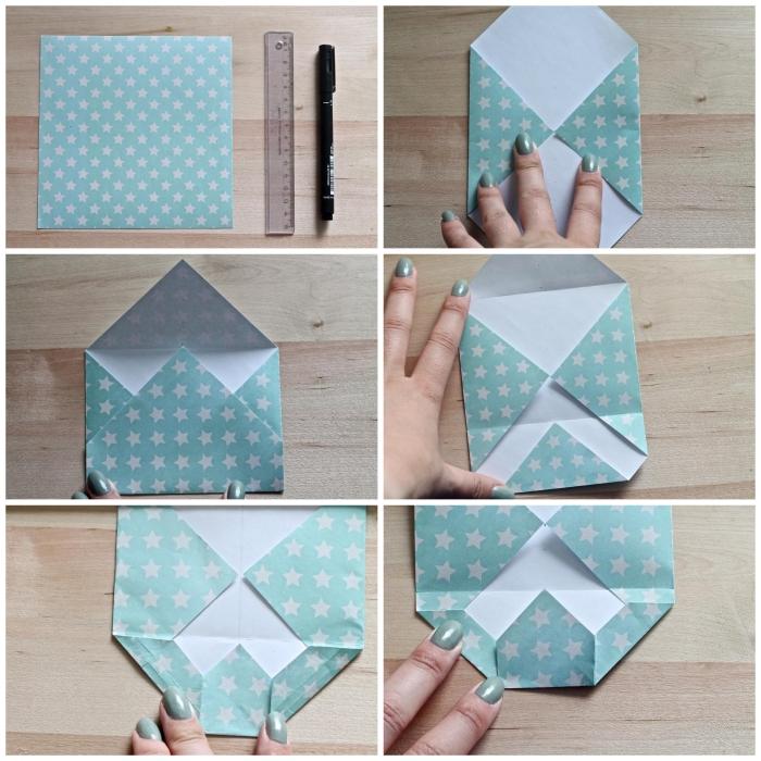 comment faire une enveloppe en papier facile avec une feuille carrée, enveloppe diy en version mini pour y glisser un bon cadeau ou un mot doux