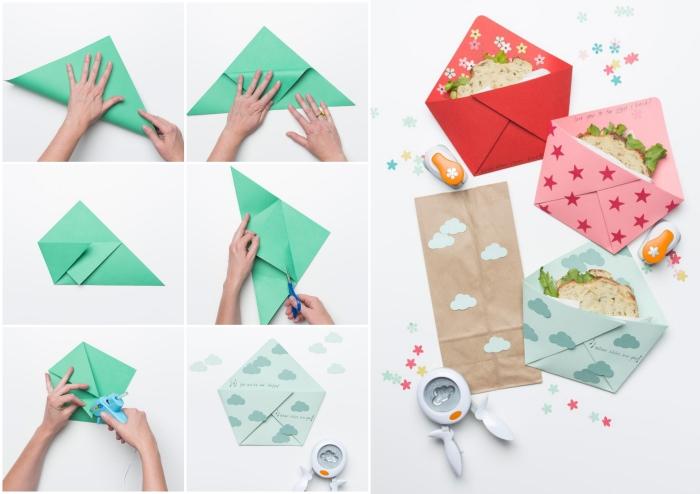 fabriquer enveloppe à sandwich ou à collation en quelques plis origami, jolie papeterie originale à faire soi-même pour la rentrée