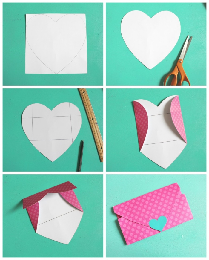 tuto pliage facile pour faire une enveloppe avec une feuille découpée en forme de coeur, enveloppe diy spécial saint-valentin avec fermeture coeur
