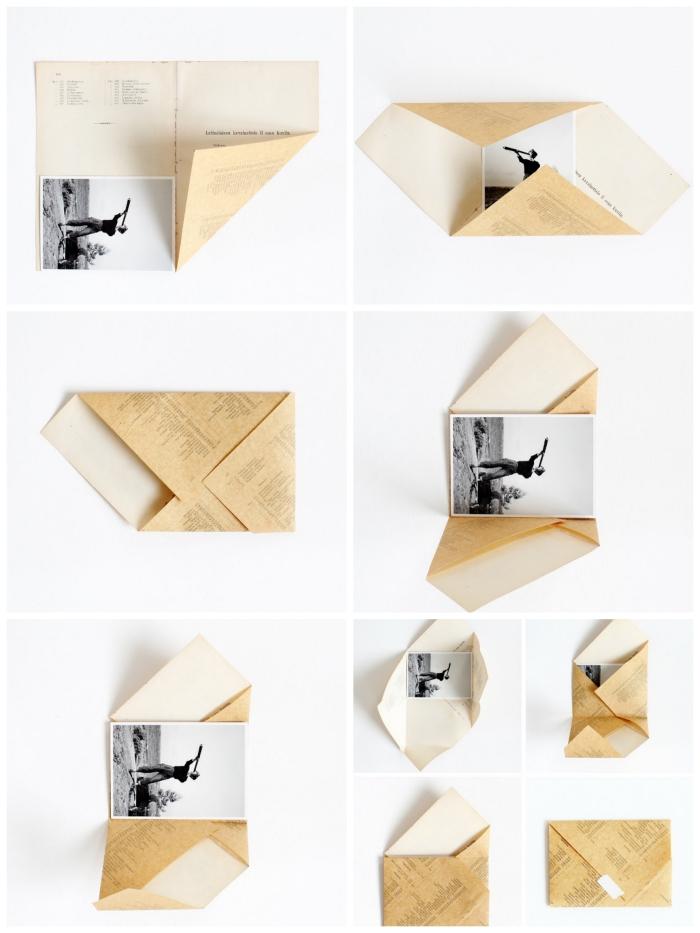 comment fabriquer enveloppe avec une page de livre recyclée, instructions de pliage d'une enveloppe asymétrique en origami avec une photo noir et blanc à l'intérieur