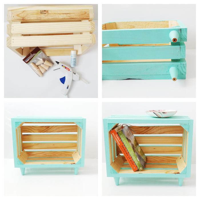comment faire une table basse cagette pour son chevet avec une caisse en bois décorée de peinture bleue, tutoriel bricolage table