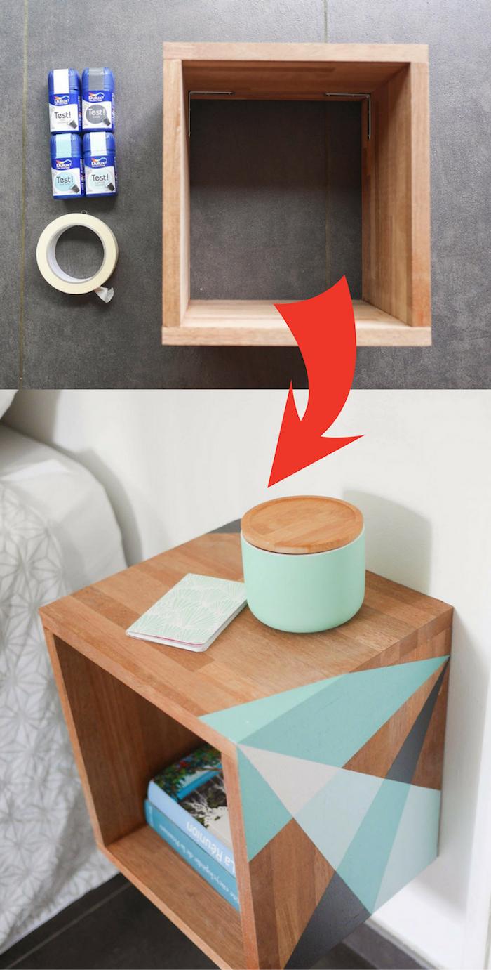 utiliser du washi tape pour peindre des motifs geometriques sur une étagère rangement bois, table de service pour objets de première nécessité, livres et magazines