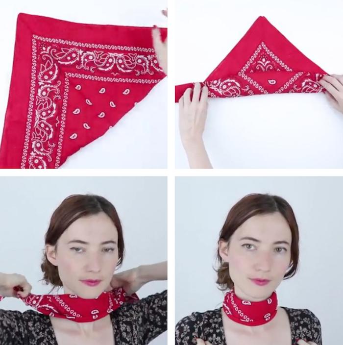 tutoriel pour mettre un bandana rouge avec noeud à la francaise autour du cou étape par étape