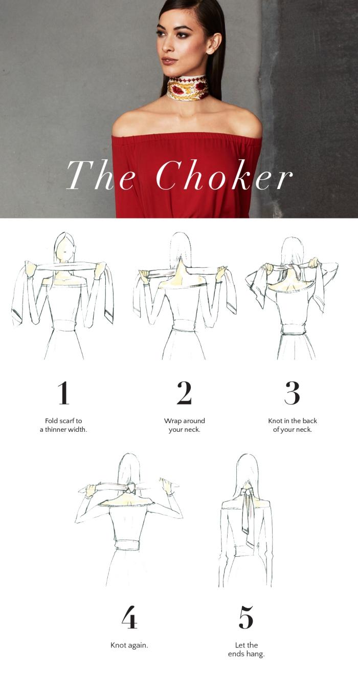 idée comment attacher un foulard, tutoriel avec les étapes pour nouer un foulard façon choker, nouage foulard facile