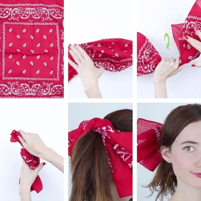 comment porter un foulard bandana rouge comme accessoire coiffure et attache chignon