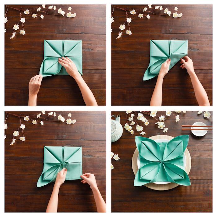 technique de pliage serviette tissu bleu pour réaliser un motif fleur de lotus original, deco table inspiration japonaise