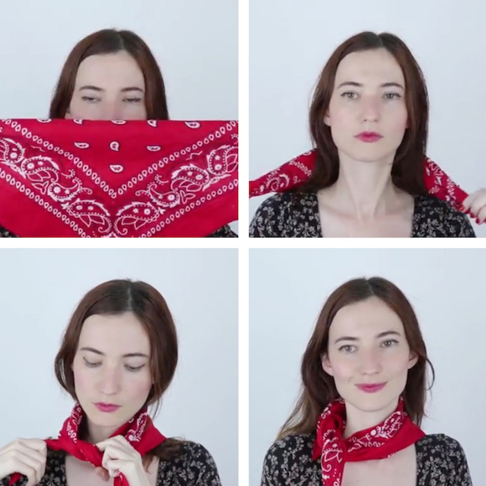 tutoriel pour porter bandana rouge autour du cou comme une écharpe étape par étape