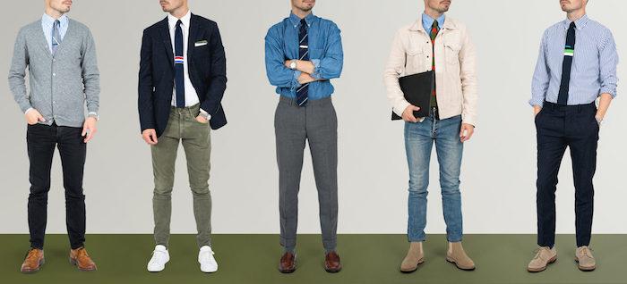 comment mettre une cravate avec différentes idées de tenues casual homme pour tous les jours