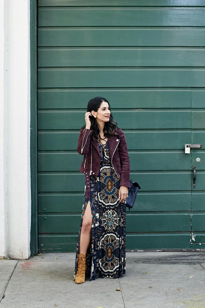 20f0df683c5 Magnifique idée comment porter une veste cuir chaud avec robe longue femme