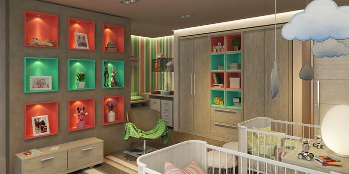 rangement mural en étagères intégrés, deux lits bébé, nuages suspendus, commode en bois