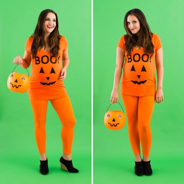 exemple de costume Halloween pour femme enceinte, deguisement d halloween a faire soi meme, costume citrouille orange facile