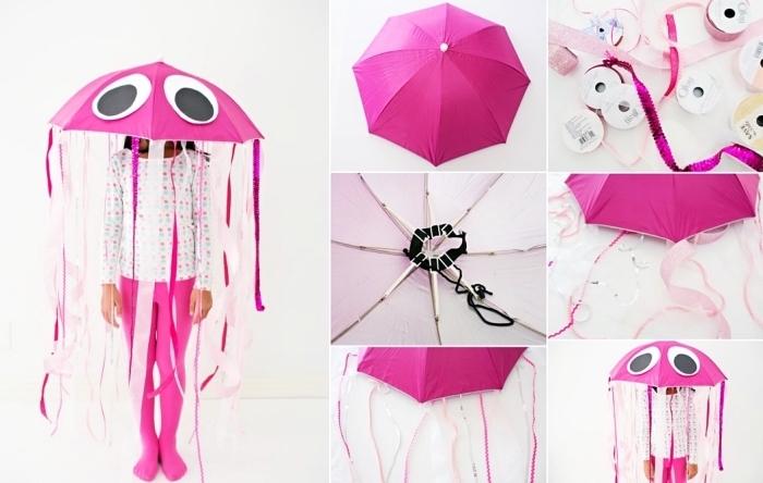 exemple de déguisement halloween fait maison pour enfant, costume pour enfant DIY à design méduse en parapluie et rubans