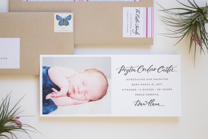 comment réaliser un faire part naissance pas cher, modèle de carte d'annonce naissance bébé avec photo et date de naissance