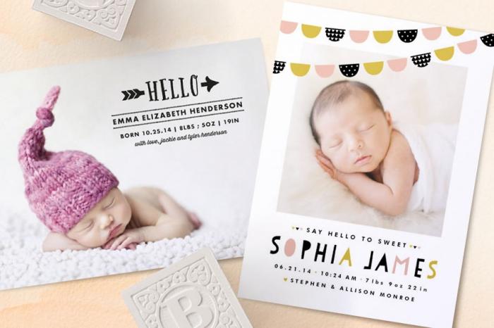 modèle de faire part creatif, exemple de faire part de naissance avec photo bébé, annonce bébé avec prénom et date de naissance