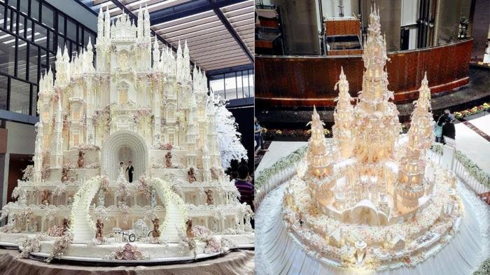 Photo magnifique gateau chateau mariage, gateau anniversaire 18 ans, beaux gateaux blanc détaillé, chateau magnifiques de mes reves realisation en creme de beurre