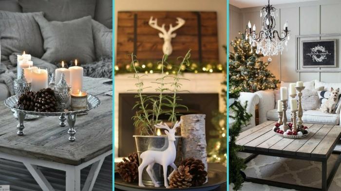 déco de table de noel, table basse bois et fer, plateau sur pieds plein de bougies et d'ustensiles déco, cerfs, pommes de pin