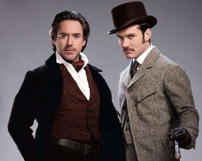 photo du film sherlock holmes avec robert downey jr et sa cravat ascot lavallière marron