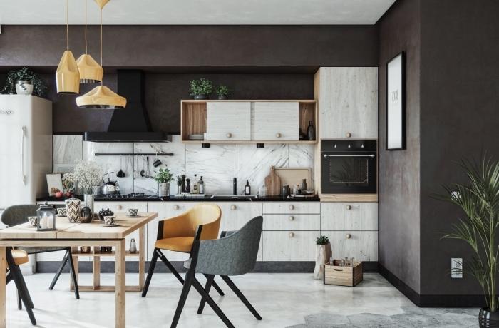 comment aménager une cuisine en longueur tendance contemporaine, idée cuisine ouverte vers la salle à manger en gris et blanc marbre