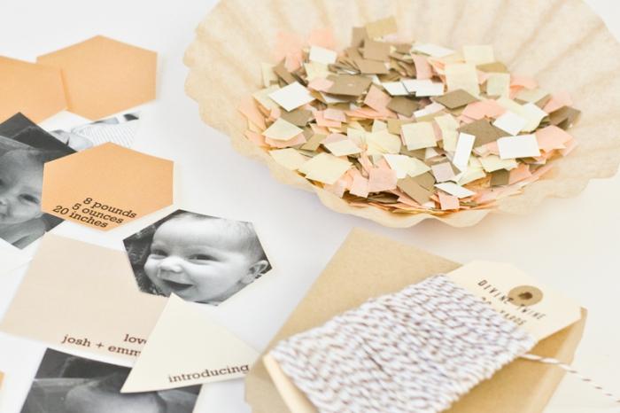 exemple de faire part naissance personnalisé, comment faire une surprise annonce bébé avec papier cartonné et papier coloré