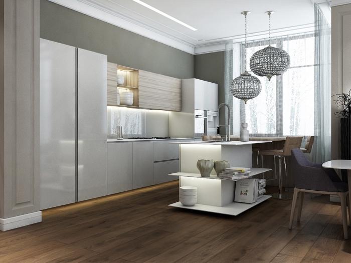 déco de cuisine en longueur avec îlot, exemple cuisine blanche avec crédence en verre et meuble rangement ouvert
