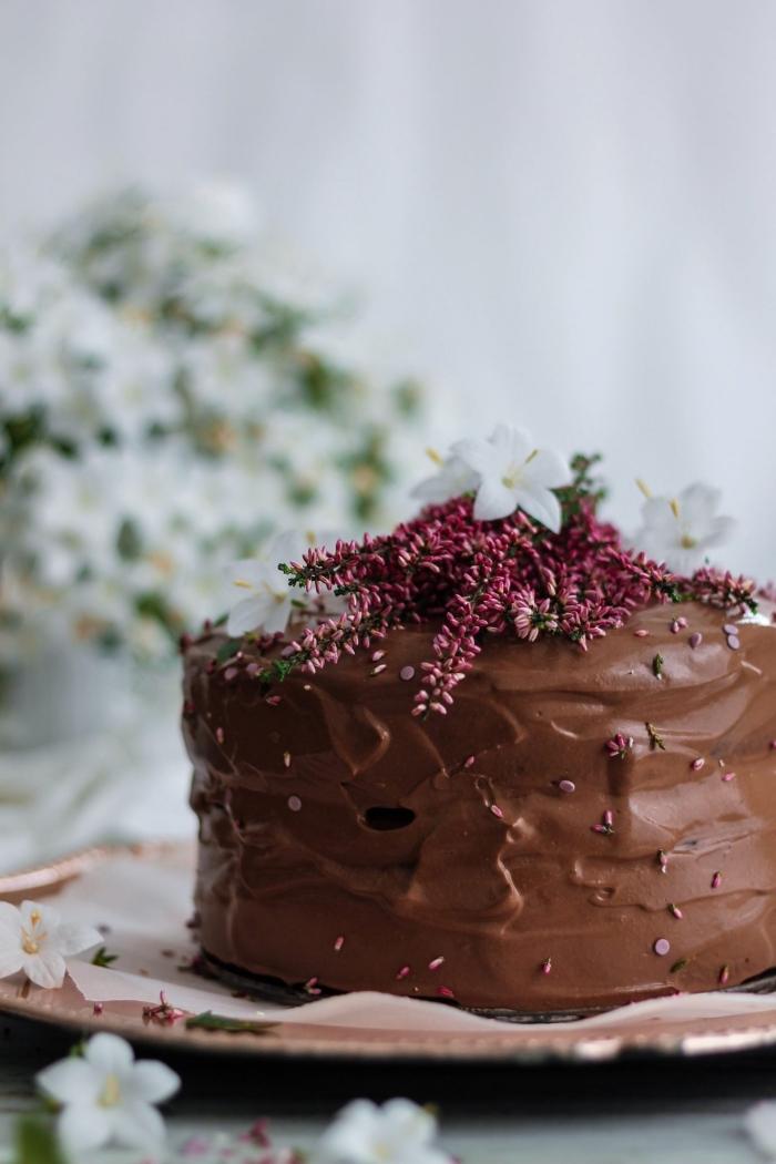 recette de gateau sans oeuf sans beurre au chocolat, parfumé à l'espresso avec ganache chocolat au tofu soyeux