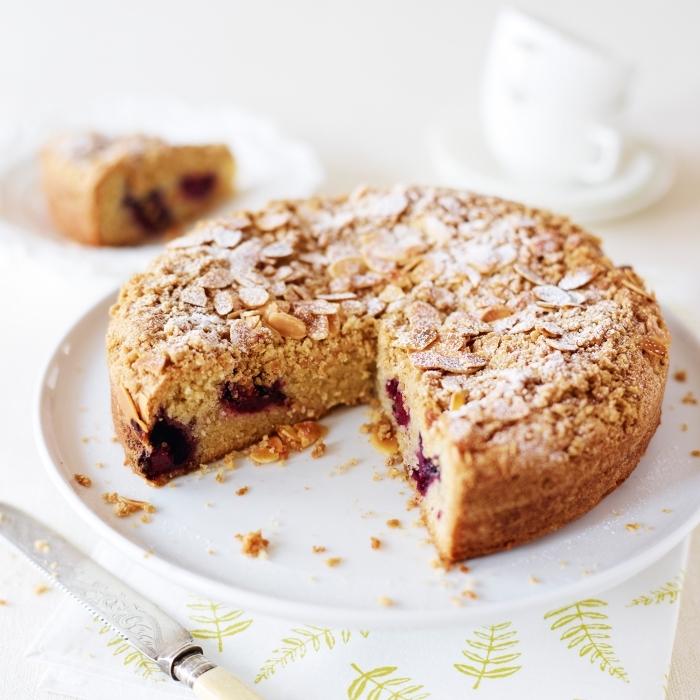 recette facile et rapide de gateau sans oeuf sans beurre aux amandes et aux cerises, gâteau moelleux vegan aux amandes et aux cerises sans oeufs ni lactose