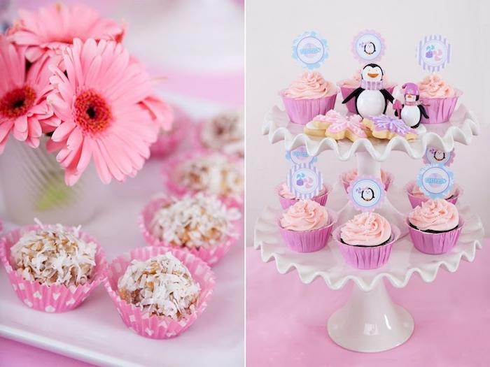 bonbons sains aux ingrédients naturels et cupcakes et biscuits avec glaçage tonalités pastel, candy bar anniversaire fille