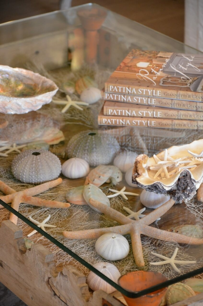 réaliser une deco table basse, étoiles de mer, livres, plateau en verre, décoration d'intérieur thème marin