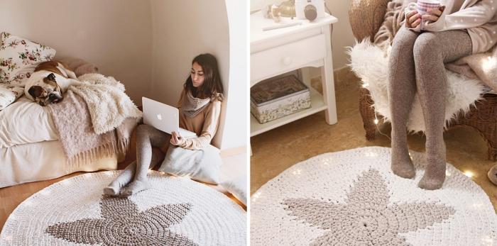comment faire un superbe tapis diy rond, exemple de tapis crochet beige rond avec forme d'étoile au centre