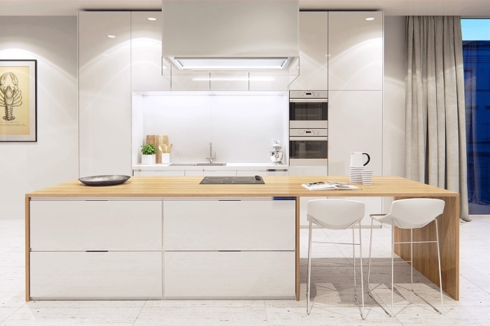 design intérieur moderne dans une cuisine blanc et bois, exemple agencement cuisine équipée avec îlot central