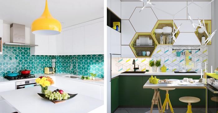 exemple de cuisine équipée aménagée d'angle, idée agencement petite cuisine, modèle de cuisine blanche avec accents colorés, crédence carreaux motifs géométriques en vert