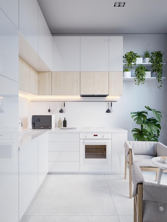 modele de cuisine en style minimaliste avec peinture murale et plafond en blanc, ambiance moderne dans une cuisine d'angle,
